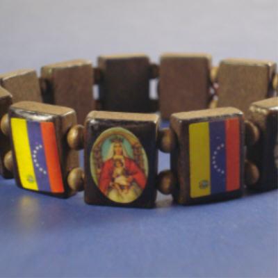 Wood Stretch Bracelet SAINTS w/ Venezuela Flag