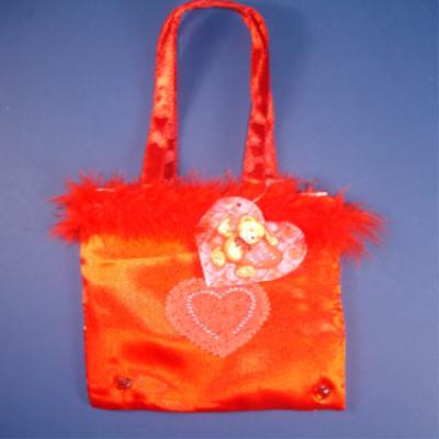 Red Satin Furry Top HANDBAG w/ Stone Heart