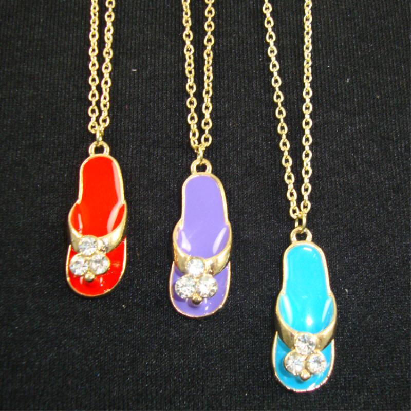 Gold Chain Necklace w/ Colored FLIP FLOP Pendant w/ Crystal Flower