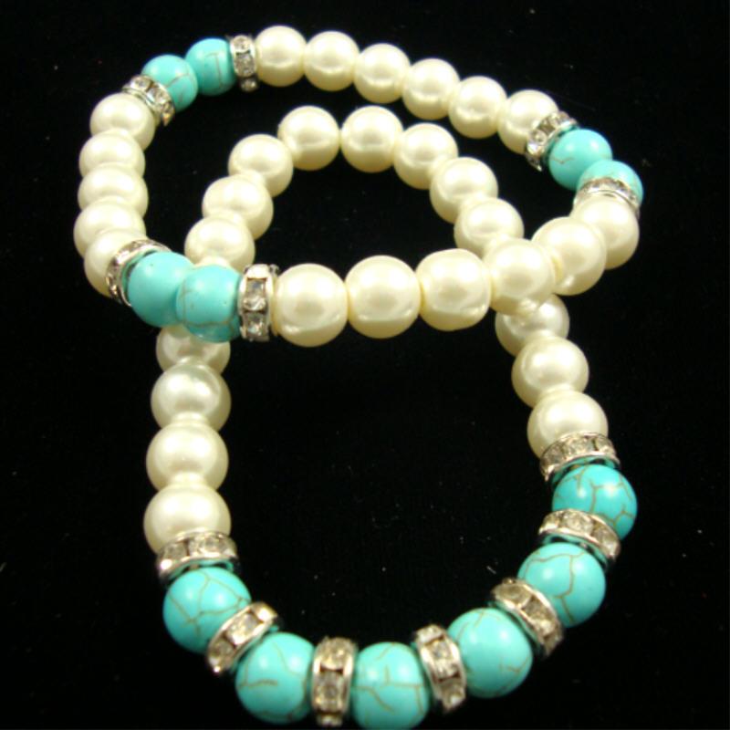 White Glass Pearl STRETCH Bracelet w/ Turq. Stone Bead & Crystal RINGs