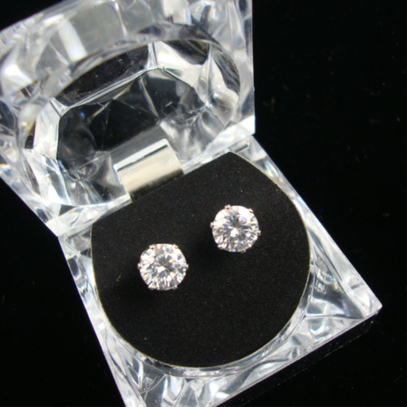 Gift Boxed 7MM Clear Stone CUBIC ZIRCONIA Earring Silver Prng Set 12 per bx $1.66 ea
