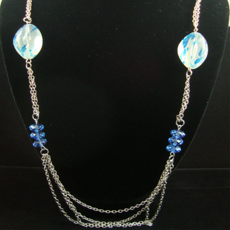 30'' Silver Chain Neck Set w/ Colored Beads & PAINT Splash Style Beads