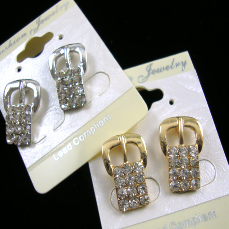 Petite Gold & Silver BELT BUCKLE Crystal Stone Earring