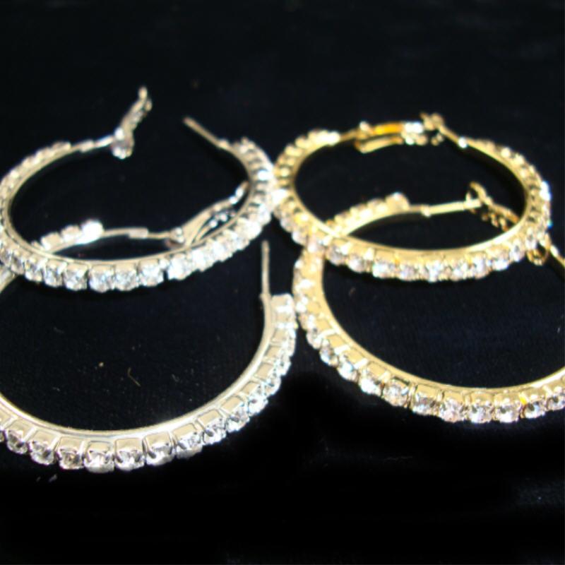 1.5'' Gold & Silver HOOP EARRINGS w/ Clear Rhinestones