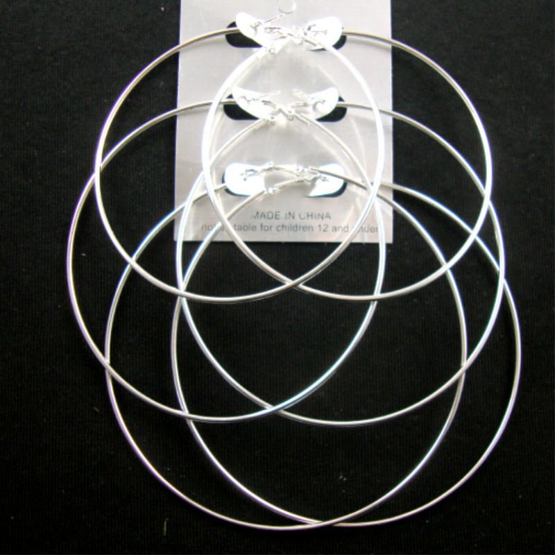 3 Pair Jumbo Silver HOOP EARRINGS 3'' -4'' Sizes