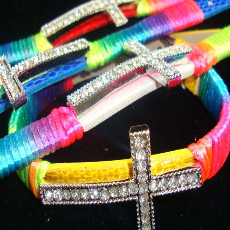 WATCH Band Bracelet MultiColor Cord w/ 1.5'' Crystal Stone Cross
