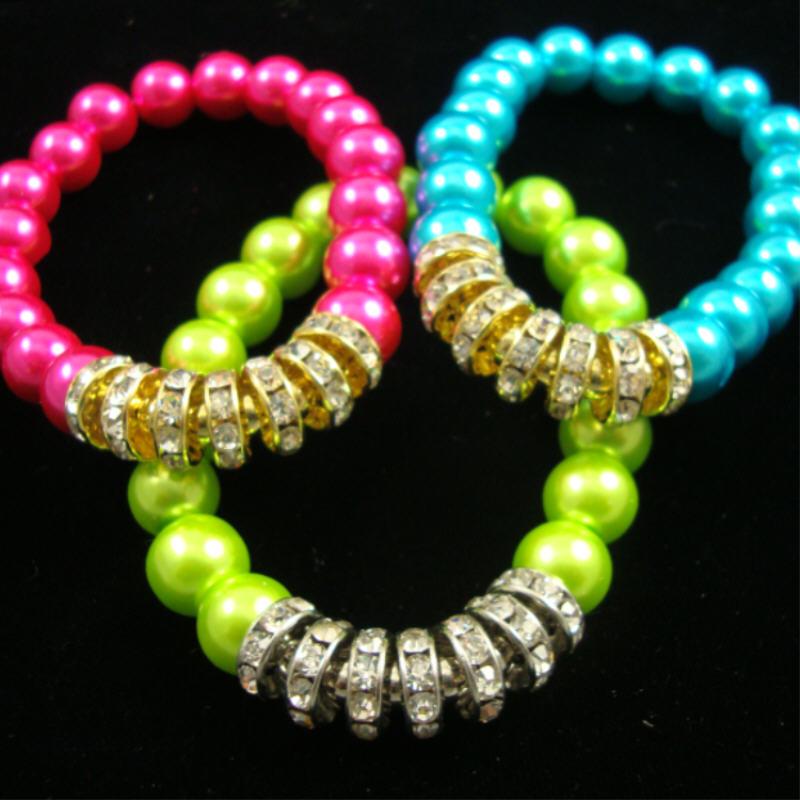 Glass Pearl STRETCH Bracelet w/ Crystal Stone RINGs